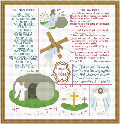cross stitch pattern Religious Easter Images and Verses