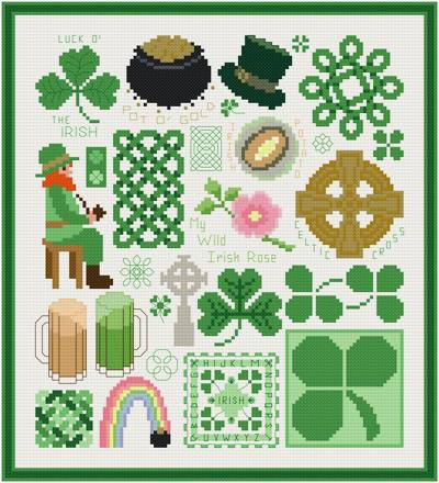 cross stitch pattern Irish Images