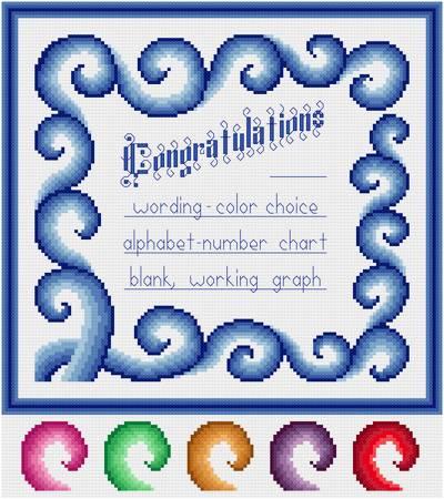 cross stitch pattern Swirling Congratulations