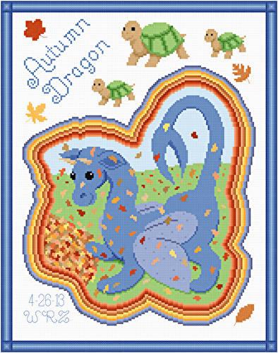 cross stitch pattern Autum Dragon