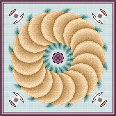cross stitch pattern French Cruller with Mint Tea