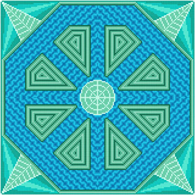 cross stitch pattern Flume - Green Inserts