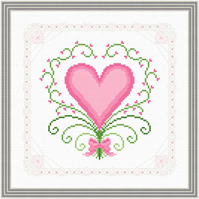 cross stitch pattern Hearts and Lace - Extravagant