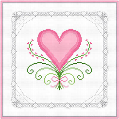 cross stitch pattern Hearts and Lace