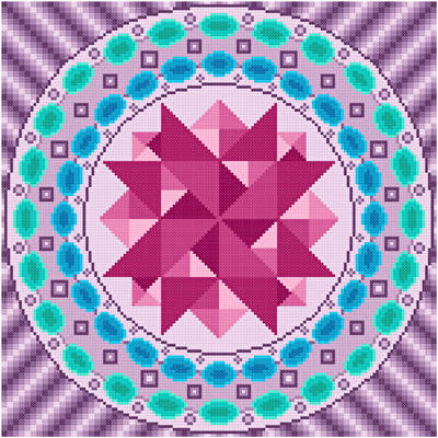 cross stitch pattern Merry Go Round - Lavender Edges