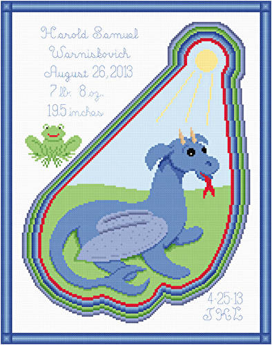 cross stitch pattern Summer Dragon Birth Announcement
