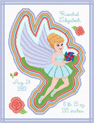 cross stitch pattern Summer Fairy Birth Announcement