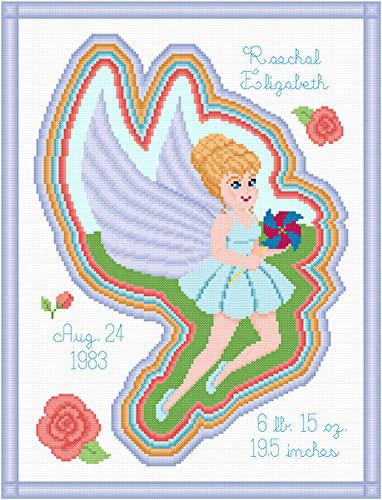 cross stitch pattern Summer Fairy Birth Announcement