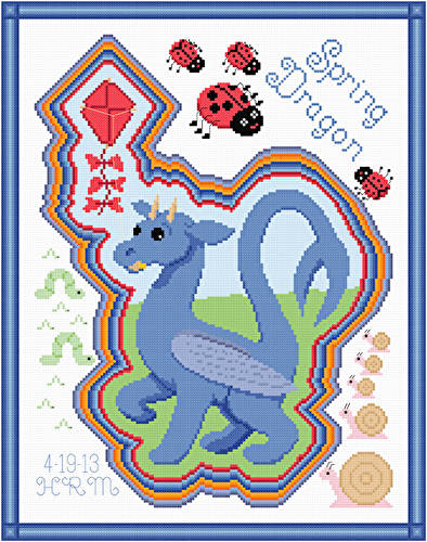 cross stitch pattern Spring Dragon