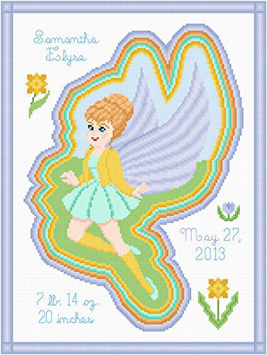 cross stitch pattern Spring Fairy Birth Announcement