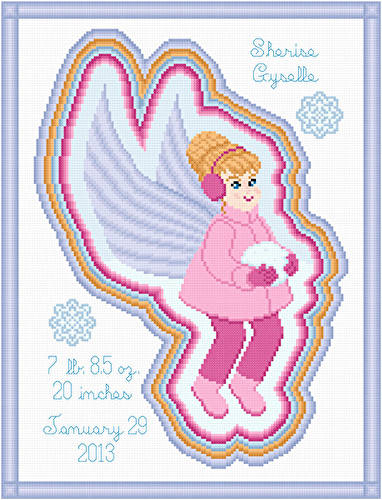 cross stitch pattern Winter Fairy Birth Announcement