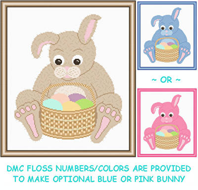 cross stitch pattern Bunny with Easter Basket