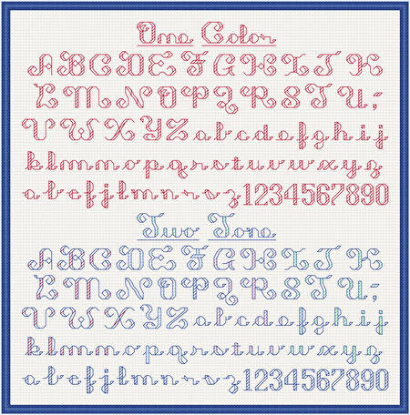 cross stitch pattern Shaded Alphabet - 1 or 2 Tone (7 high)