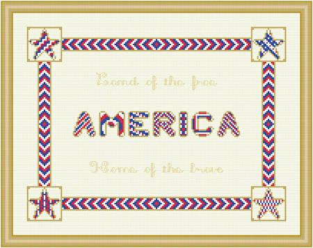 cross stitch pattern America - Protruding Corners