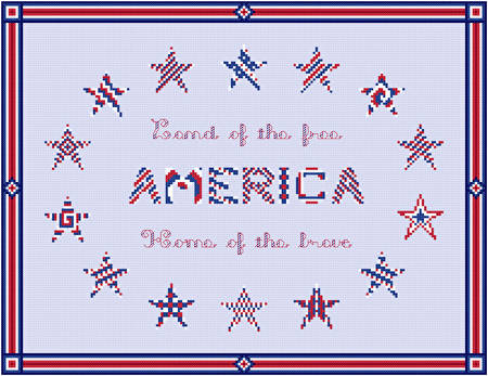 cross stitch pattern America - Star Border