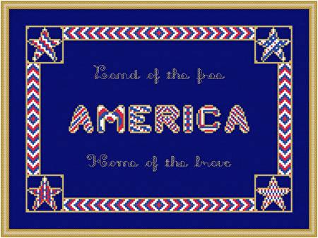 cross stitch pattern America - Rectangular Border
