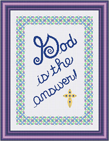 cross stitch pattern God Is the Answer