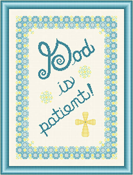 cross stitch pattern God Is Patient - Yellow Flowers