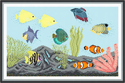 cross stitch pattern Peaceful Aquarium