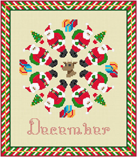 cross stitch pattern December - Santa Holiday