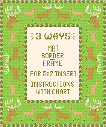 cross stitch pattern Deer Mat/Border/Frame for 5x7 insert