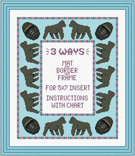 cross stitch pattern Gorilla Mat/Border/Frame for 5x7 insert