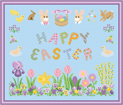 cross stitch pattern Happy Easter