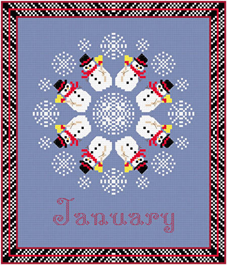 cross stitch pattern January - Snow Is Here