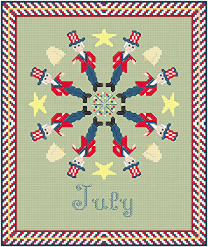 cross stitch pattern July - Patriotic Images