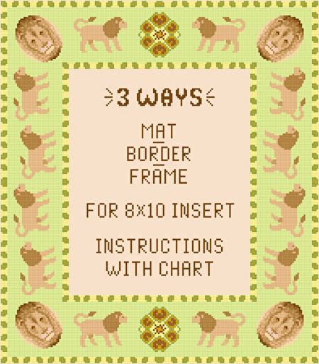 cross stitch pattern Lion Mat-Border-Frame for 8x10 insert