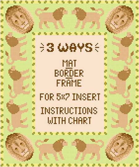 cross stitch pattern Lion Mat/Border/Frame for 5x7 insert