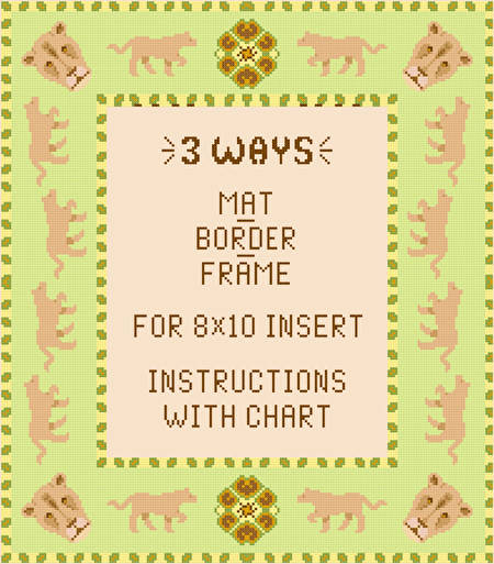 cross stitch pattern Lioness Mat-Border-Frame for 8x10 insert