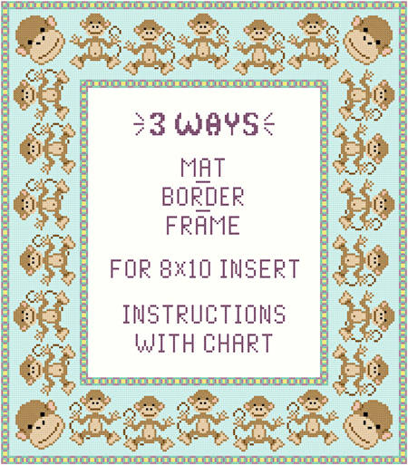 cross stitch pattern Monkey Mat-Border-Frame for 8x10 insert