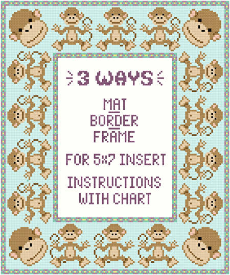 cross stitch pattern Monkey Mat-Border-Frame for 5x7 insert