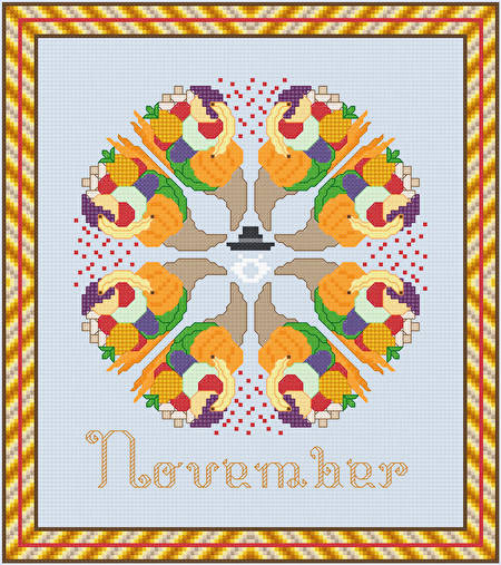 cross stitch pattern November - Cornupias