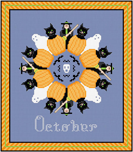 cross stitch pattern October - Halloween