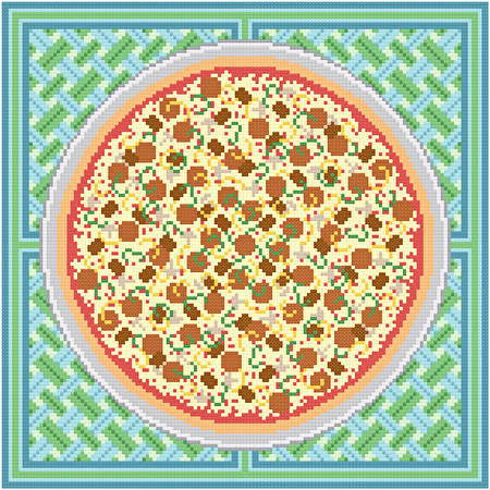 cross stitch pattern Pizza with Everything