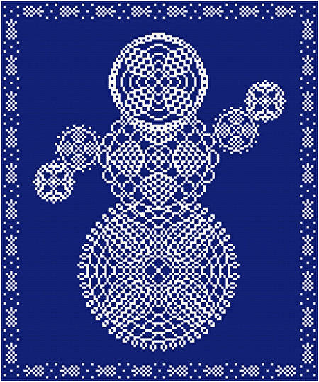 cross stitch pattern Pineapple Doily Snowman