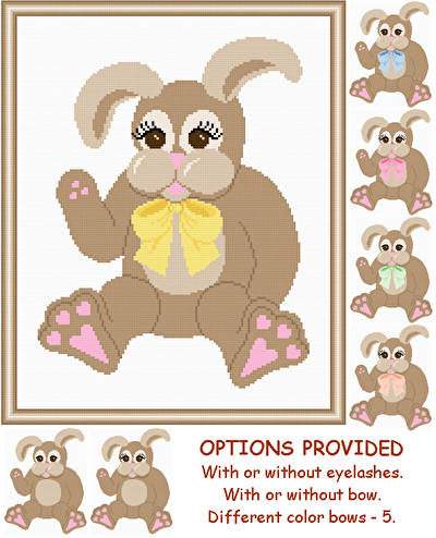 cross stitch pattern Plush Rabbit  with Options