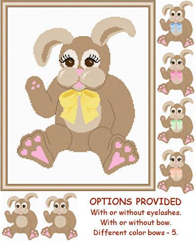 cross stitch pattern Plush Rabbit  with Options