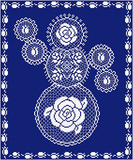 cross stitch pattern Rose Doily Snowman