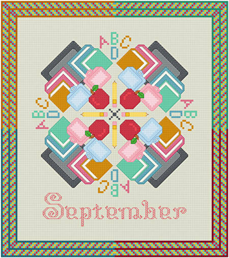 cross stitch pattern September - Back to School