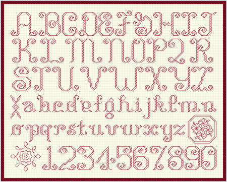 cross stitch pattern Shaded Alphabets - 14 high