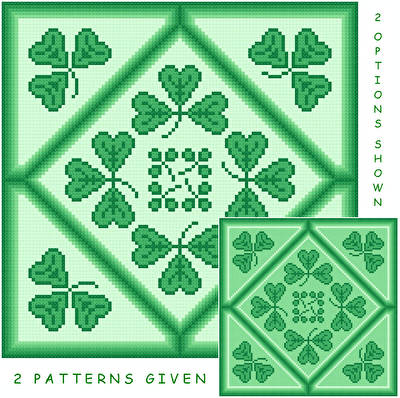 cross stitch pattern Shamrocks by the Dozen