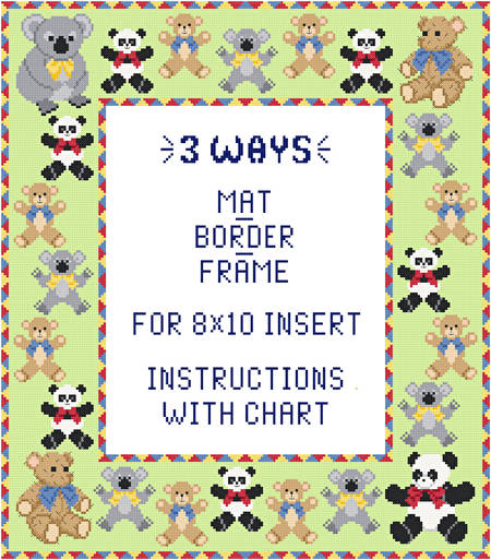 cross stitch pattern Teddy Mat/Border/Frame for 8x10 insert