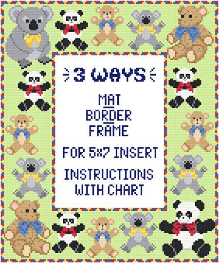 cross stitch pattern Teddy Mat/Border/Frame for 5x7 insert