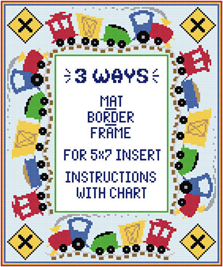 cross stitch pattern Train Mat/Border/Frame for 5x7 insert