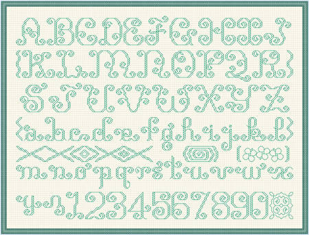 cross stitch pattern Extravagant Alphabet Plus