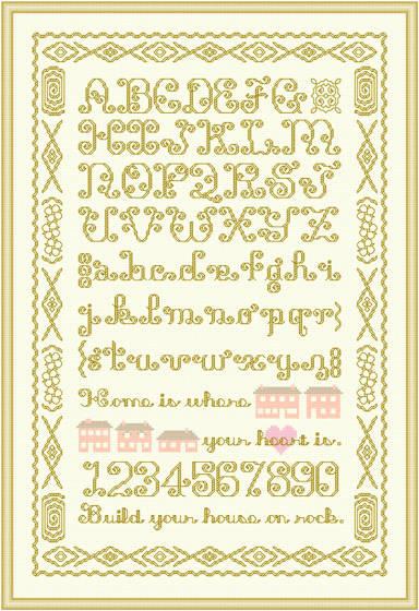 cross stitch pattern Extravagant Alphabet Sampler