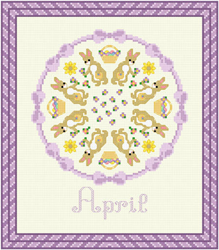 cross stitch pattern April - Easter Bunny Time